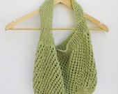 Cotton market tote green mesh hand knitted