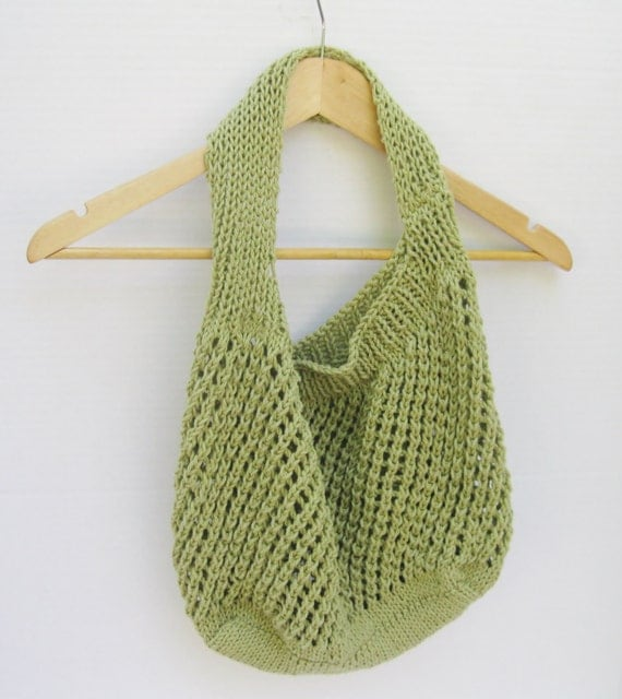 Knitting Pattern Mesh Bag : Cotton market tote green mesh hand knitted