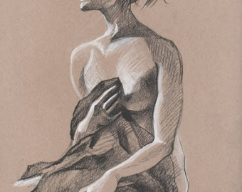 Nude  with drape #1 - Original Charcoal Pencil Drawing from Life Model