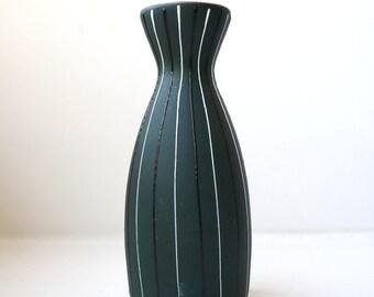 Mid Century Sake Bottle / Bud Vase Matte Green Hand Decorated Pottery Ucagco Japan