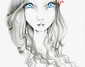 Giclee Print of my Original Pencil Drawing Illustration Drawing of a Girl Art Fantasy Art Home Decor Blue Eyes Red Flower Girls Room