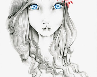 Big Eye Art Beautiful Art Print of a Girl with Big Blue Eyes Gift for Her Girls Room Fashion Wall Art for Her Women in Art Drawing of a Girl