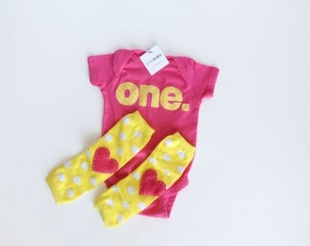 First Birthday Yellow Pink ONE Bodysuit One Piece and heart baby leg warmers