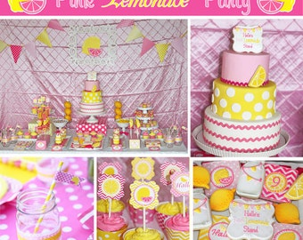 Pink Lemonade Stand Birthday Party  PRINTABLE Deluxe Package yellow pink lemons DIY  you are my sunshine party decorations cupcake express