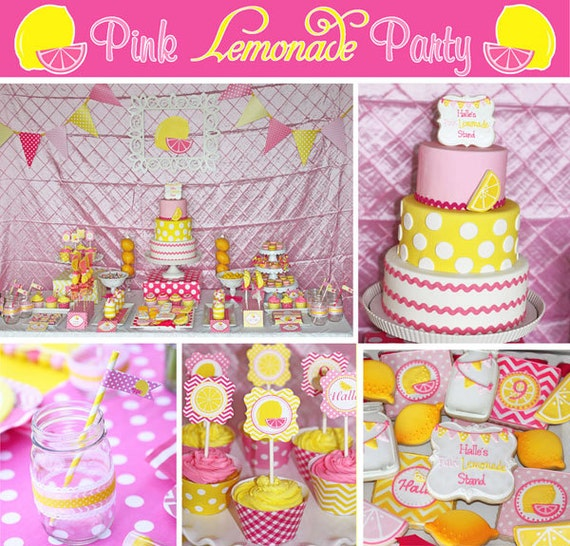 Pink Lemonade Stand Birthday Party Printable Deluxe Package Etsy