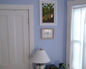 Fox paper art print, hand drawn / paper quilling / cut paper fox poster, Stylized fox print