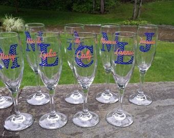 Bridesmaid champagne flute. Chevron monogram bridesmaid glass, Champagne glass with monogram and name.  Navy blue coral. Christmas gift idea