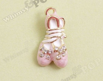 1 - 3D Crystal Rhinestone Pink Enamel Ballerina Ballet Slipper Gold Tone Kawaii Charm, Ballet Charm (4-1A)