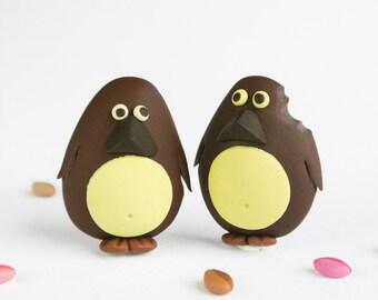 Chocolate Penguin Brooch - Fun Handmade animal jewelry - Cute bird pin