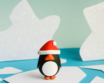 Christmas Penguin brooch - Fun Handmade Holidays Jewelry - Cute gift