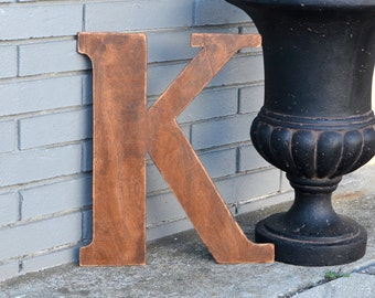 "18"" Wooden Letter K, Rustic Wedding Guestbook, Classic Font in Distressed Chestnut Stain - all letters available in many colors"