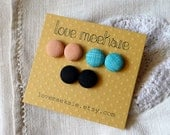 fabric button stud earrings set - small 1/2 inch size - creekside picnic