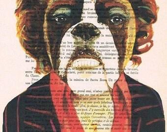 James Brown Bulldog: Print Poster Illustration Acrylic Painting Animal Portrait Wall Decor Wall Hanging Wall Art Drawing Glicee, coco