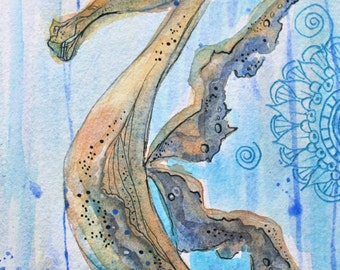 Whimsical Sea Horse Original Water Color Painting approx. 5 1/2 x 15 inches inches - fish art-art fishCoastal - Beach Art - Condo-Ocean
