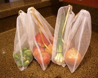 Produce Bags: Large Size Reusable Nylon Mesh, set of 4