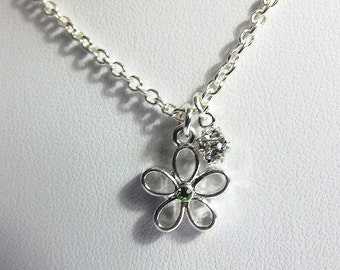 Flower and Rhinestone Charm Necklace Bridesmaid Jewelry Christmas Gifts Silver Necklace