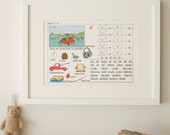 Vintage French Primary School Alphabet charts, Lesson 12
