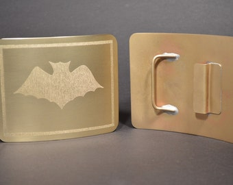 WS2 Caped Crime Fighter Utility/jean  Bat Belt Buckle in solid brass.