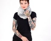 Winter Scarf, hooded Cowl  (The Harvard Warmer Marble)