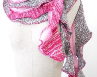 ON SALE WAS 48 Pink Fuchsia Ruffle Knit Scarf Chunky ecofriendly Recycled sweater upcycled extra long wrap around textured Rose Temple