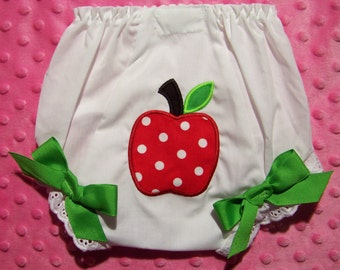 Apple Diaper Cover / Bloomer / !st Birthday / Red Polka Dots / Panty /Apple Picking / Fruit / Holiday / Birthday / Custom Boutique Clothing
