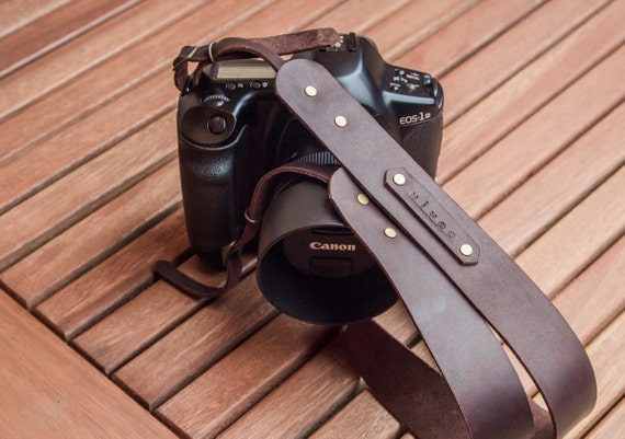 Personalized leather camera strap. Hand made from premium brown leather. Fit's Canon, Nikon, Fuji, Olympus