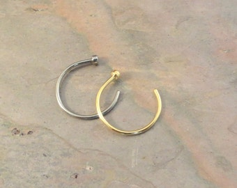 2 Nose Hoops Nose Rings - Silver and Gold Nose Piercings