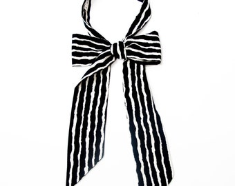 Black and white stripes vintage style influenced neckerchief, hand drawn marker pen effect