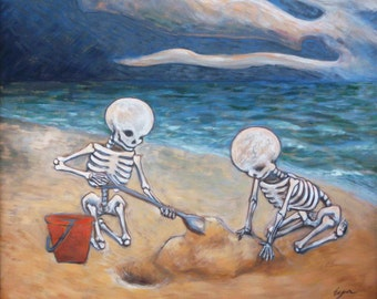 Day of the dead - Dia de los muertos art print - Skeleton kids on the beach print
