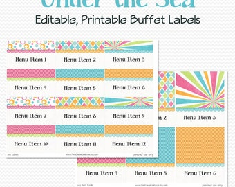Buffet Labels and Place Cards, Girl's Summer Swim Birthday Party Decoration, Under the Sea Baby Shower Decor, Supplies - Editable, Printable