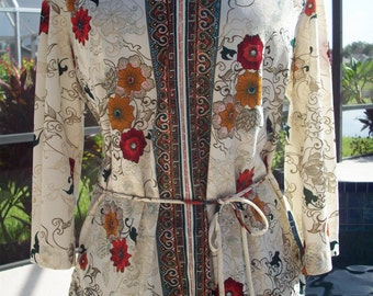 Flower Power Pattern Scroll Shirt