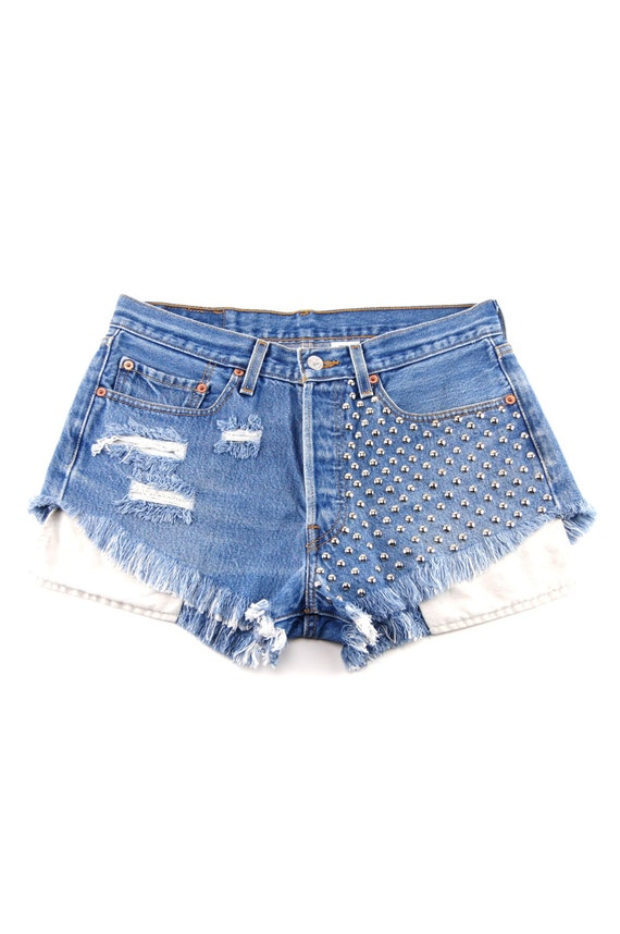Vintage Blue Denim Studded High Waist Cut Off Shorts / Size 30