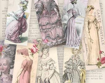 Vintage Fashion Bookmarks instant download printable digital collage sheet VDBMVI0816