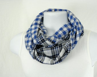 Infinity Scarf Reversible Cotton Plaid Royal Blue, Black and White Check Handmade Loop Scarf Fashion Accessory for Men and Women