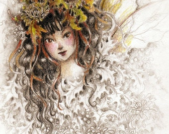 Fantasy Art Print, Autumn Faerie, Fairy, Fae