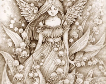 "Fantasy Art Print ""Lily of the Valley"" Pencil Drawing Angel Print"