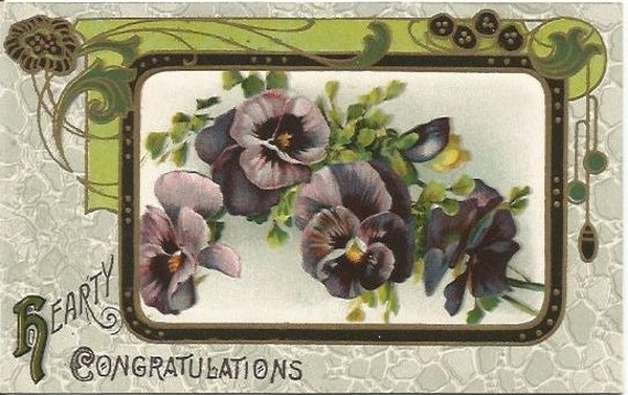 "Antique Postcard Pansies Pansy Flowers Framed in an Art Nouveau Frame  ""Hearty Congratulations"" 1910s Ephemera"
