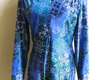 Glam Vintage Early 70s Robert-David Morton Form Fitting Maxi Dress S M