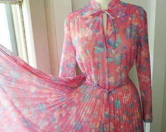 Sheer Pink Watercolor 1970s Day Dress Full Skirt Accordion Pleated Skirt Party Dress