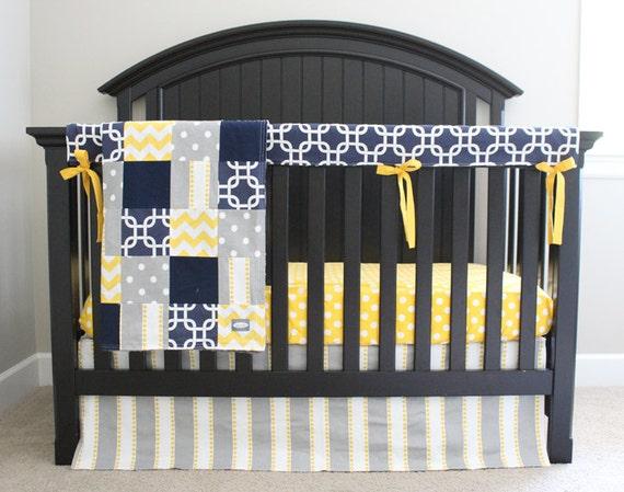 Custom baby bedding navy blue yellow and grey by gigglesixbaby - Navy blue and yellow bedding ...
