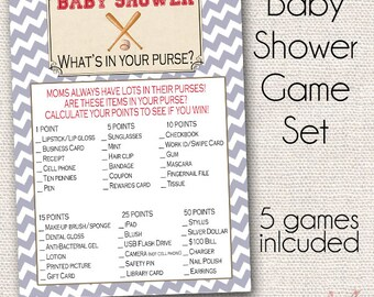 INSTANT DOWNLOAD Vintage Baseball Baby Shower Game Package - 5 Games Included - Printable - Baby Shower Games
