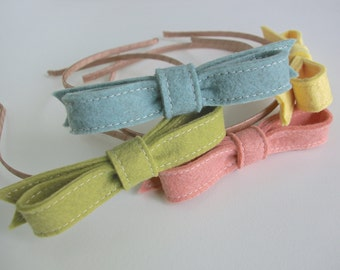 Wool Felt Bow Headbands ø Hair Bow ø Up to 25% Discount ø LoftFullofGoodies
