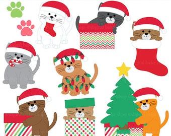 christmas clipart clip art kittens cats - Christmas Kittens Digital Clip Art