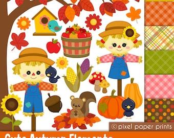 Cute Autumn Elements - Fall Clipart - Clip Art and Digital paper set