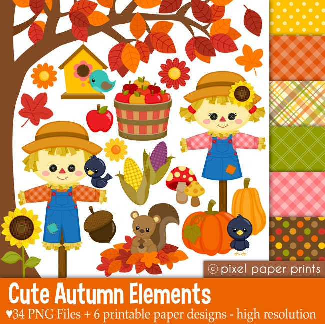 Cute Autumn Elements Fall Clipart Clip Art and Digital