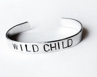 Boho jewelry, bracelet, silver cuff bracelet, Wild Child, hand stamped bracelet, handmade jewelry, teen jewelry, tween jewelry