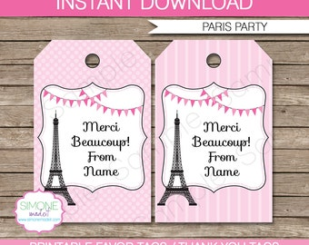 Paris Favor Tags - Thank You Tags - Birthday Party Favors - INSTANT DOWNLOAD with EDITABLE text template - you personalize at home