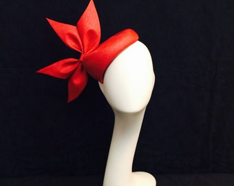 Cherry red fascinator with custom bow