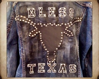 Vintage Hand Studded Distressed Jean Jacket with Leather Studded Longhorn