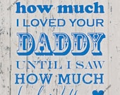 """Blue """"I Never Knew How Much I Loved Your Daddy Until I Saw How Much He loved You"""" 8x10 Rustic Vintage Print - INSTANT DOWNLOAD"""